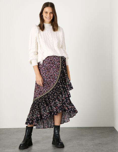Floral Patch Wrap Skirt Black, Black (BLACK), large
