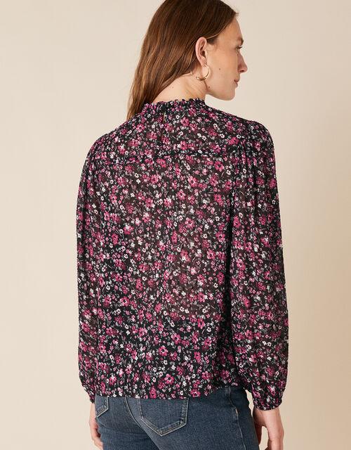 Ditsy Floral Print Blouse, Black (BLACK), large
