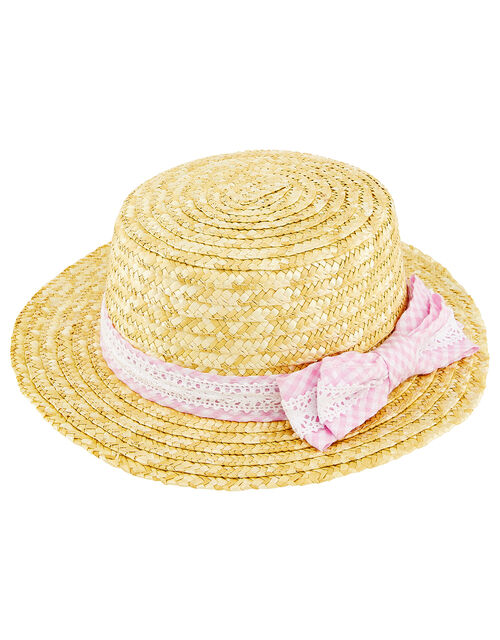 Straw Hat with Gingham Bow, Natural (NATURAL), large