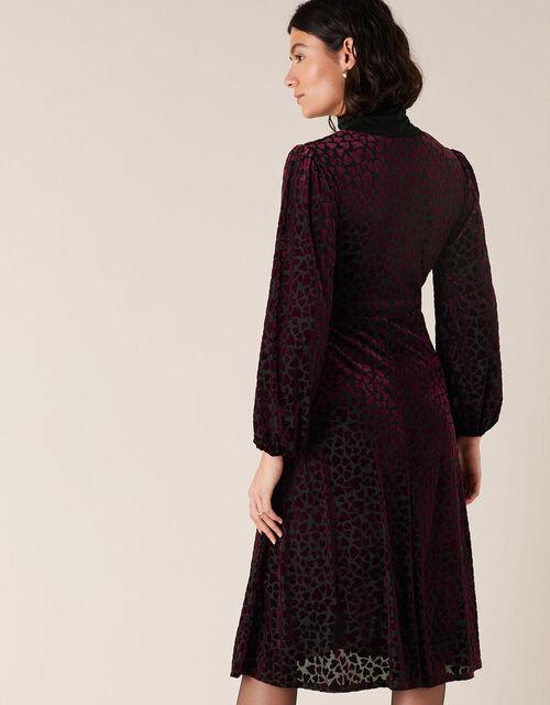 Helena Stretch Heart Devore Dress, Black (BLACK), large