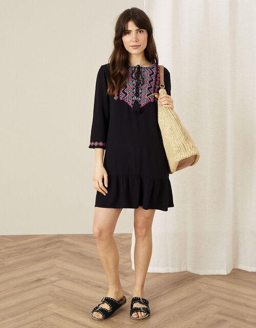 Embroidered Yoke Kaftan Dress, Black (BLACK), large