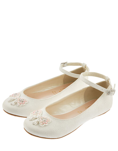 Kylie Crystal Bow Shimmer Ballerina Shoes, Ivory (IVORY), large