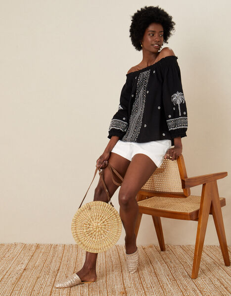 Palm Embroidered Off-Shoulder Top Black, Black (BLACK), large