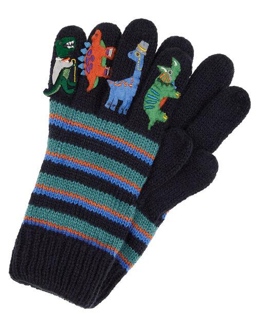 Dino Stripe Knit Gloves, Blue (BLUE), large