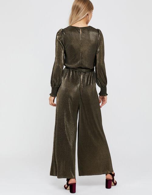 Lillian Plisse Jersey Jumpsuit, Gold (GOLD), large