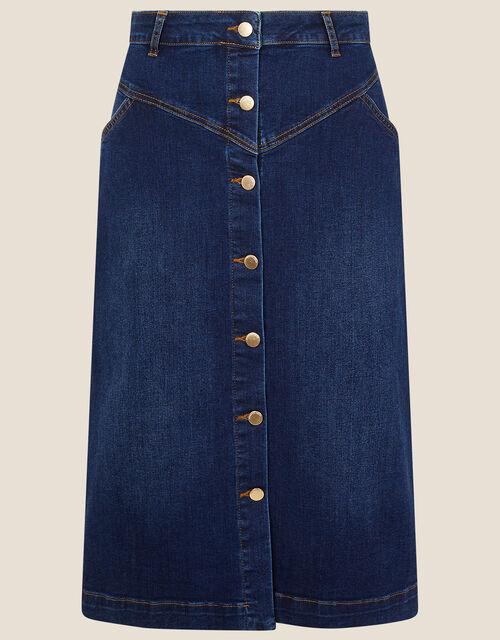Denim Button Through Midi Skirt, Blue (DENIM BLUE), large