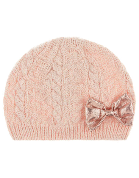 Baby Poppy Shimmer Bow Cable Knit Beanie Pink, Pink (PINK), large