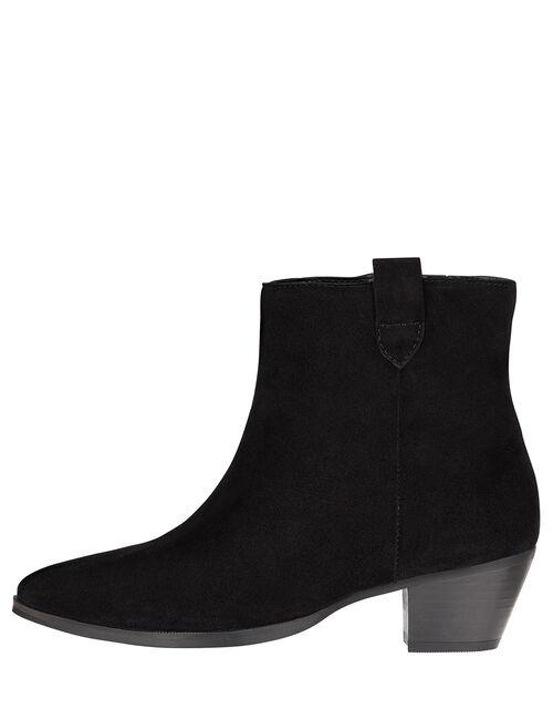 Western Suede Ankle Boots, Black (BLACK), large