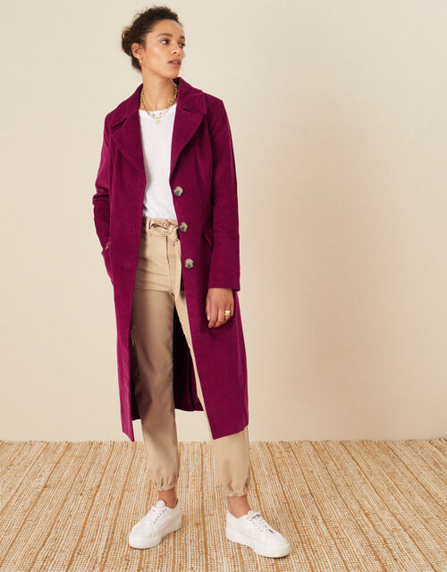 Connie Cord Trench Coat, Red (BERRY), large