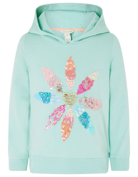 Embellished Flower Hoody with Organic Cotton  Blue, Blue (AQUA), large