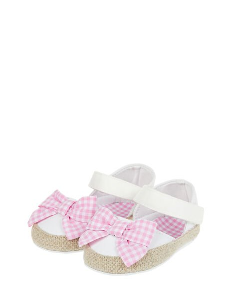 Baby Gingham Bow Espadrille Bootie Shoes Ivory, Ivory (IVORY), large