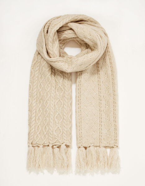 Cable Knit Scarf, , large