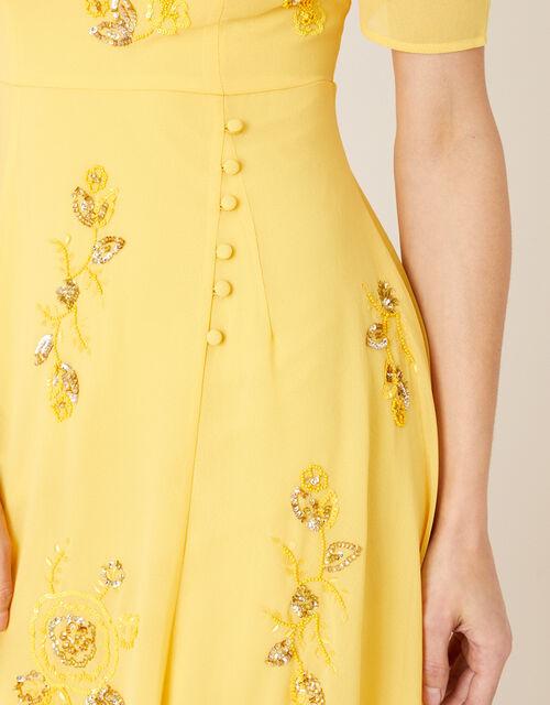 ARTISAN Lilah Floral Embellished Dress, Yellow (YELLOW), large