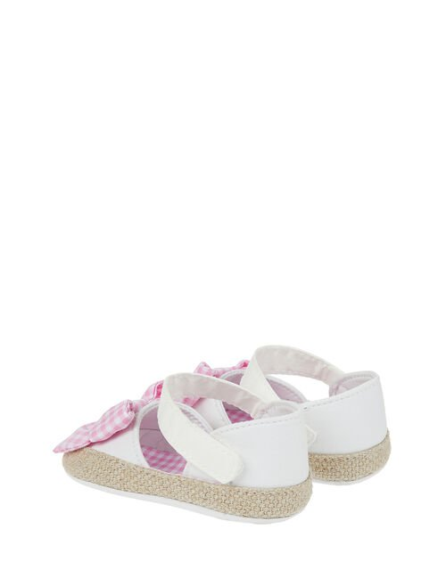 Baby Gingham Bow Espadrille Bootie Shoes, Ivory (IVORY), large