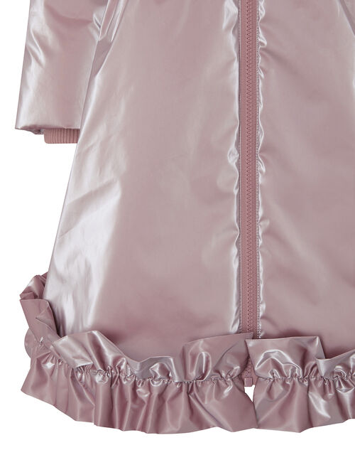 Metallic Frill Hem Padded Coat, Pink (PINK), large