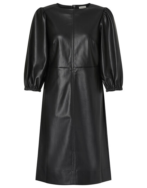 Round Neck Leather-Look Dress, Black (BLACK), large