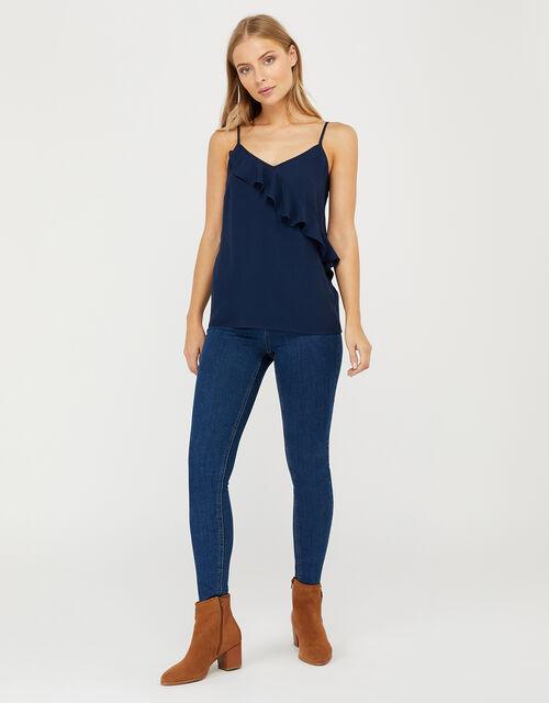 Bella Frill Cami Top, Blue (NAVY), large