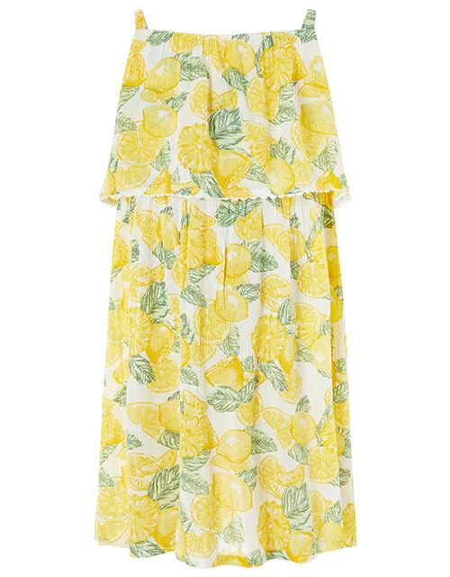 Layla Lemon Print Dress, Yellow (YELLOW), large