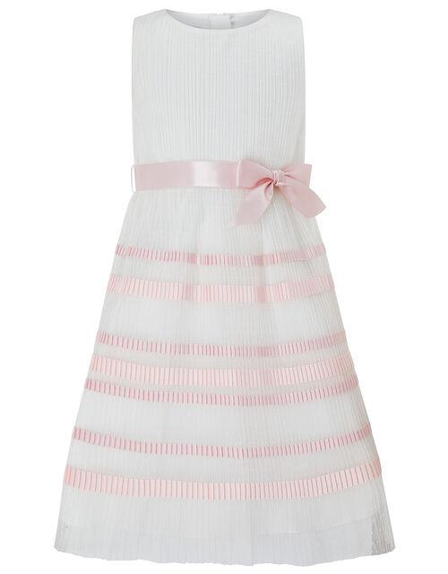 Lydia Pleated Stripe Dress, Ivory (IVORY), large