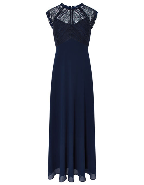 Lolita Maxi Dress with Lace Bodice, Blue (NAVY), large