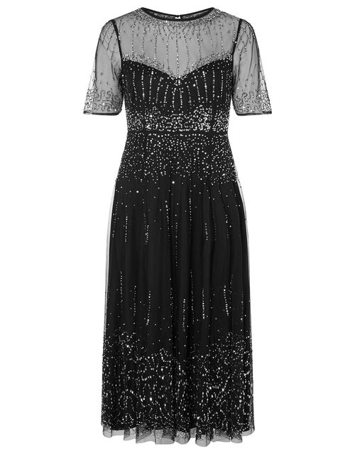 Haley Sequin Midi Dress, Black (BLACK), large