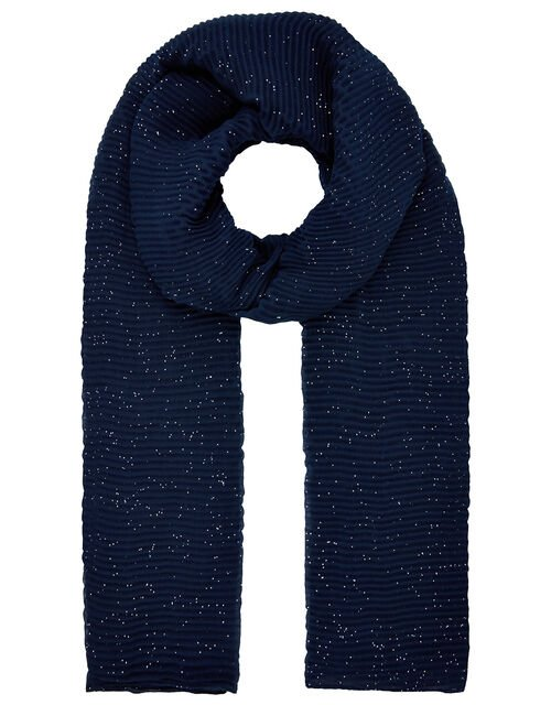 Petra Pleated Glitter Scarf in Recycled Polyester, Blue (NAVY), large