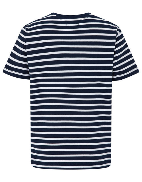 Lawrence Striped T-Shirt with Tractor, Blue (NAVY), large