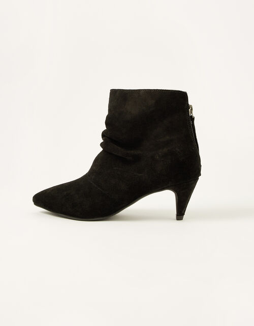 Slouch Suede Kitten Boots, Black (BLACK), large