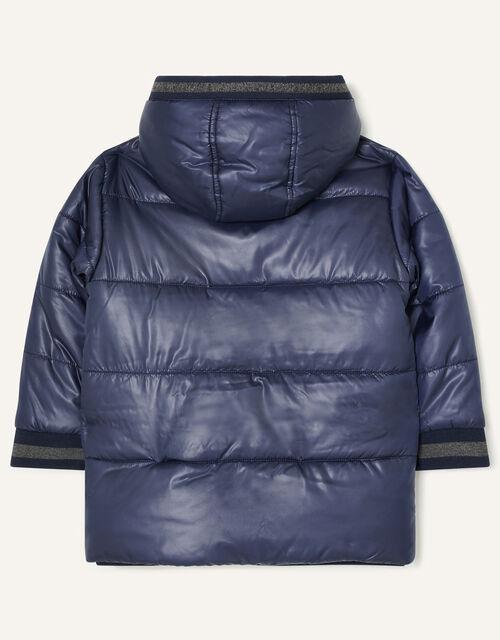 Jersey Trim Padded Coat, Blue (NAVY), large