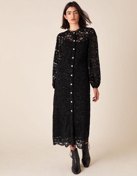 Francesca Floral Lace Shirt Dress Black, Black (BLACK), large