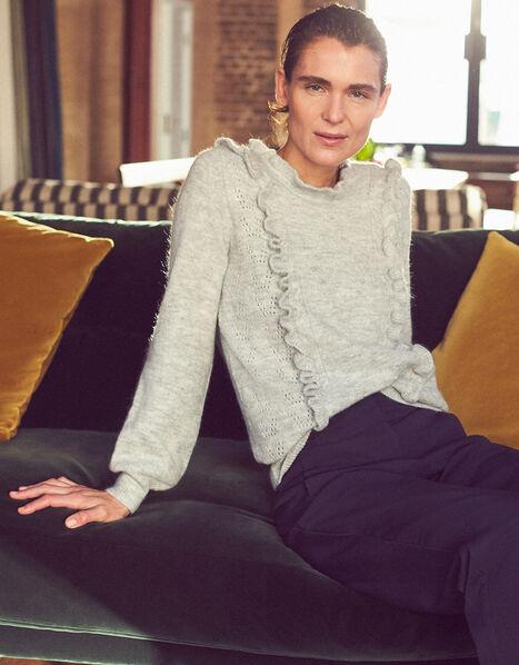 Ruffle Pointelle Knit Jumper Grey, Grey (GREY), large