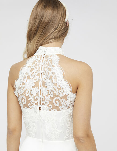 Flora Bridal Embellished Lace Halter Maxi Dress, Ivory (IVORY), large