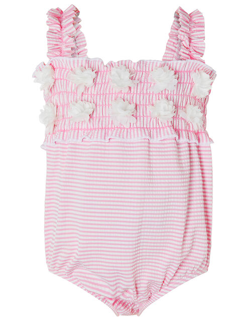 Baby Poppy Seersucker Swimsuit with Flowers, Pink (PINK), large