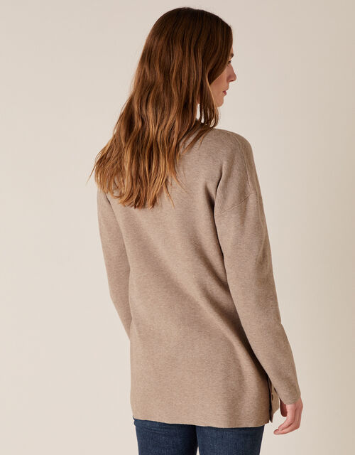 Button Side Edge-to-Edge Cardigan , Camel (CAMEL), large