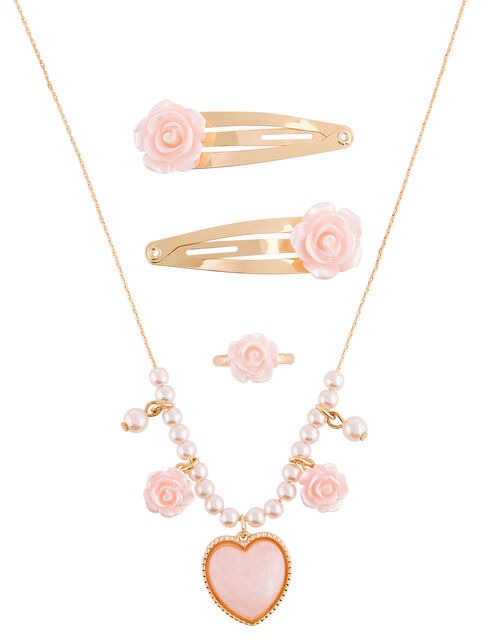 Pearly Heart and Rose Accessory Set, , large