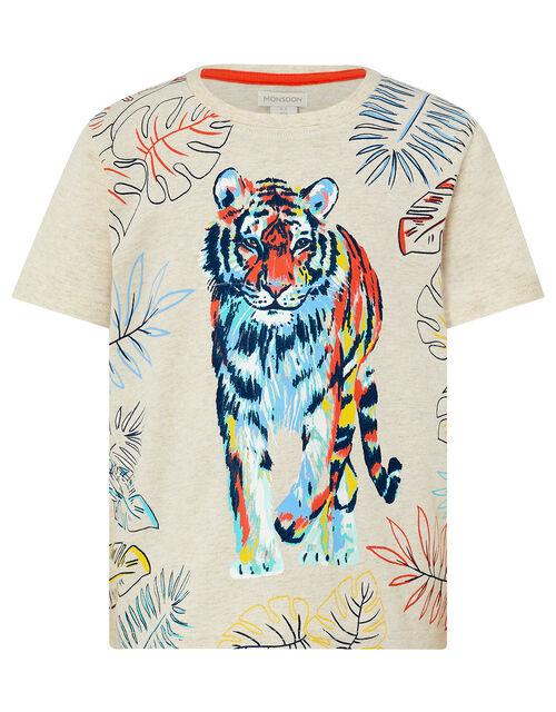 Tiger Printed T-Shirt, Camel (OATMEAL), large