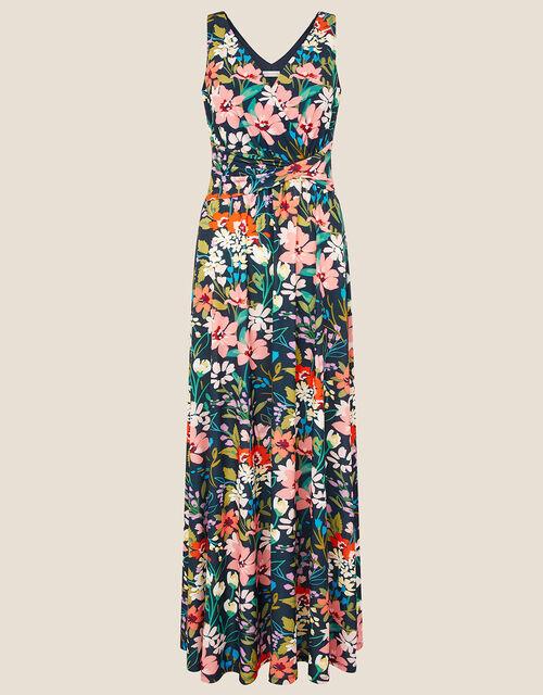 Nicole Floral Slinky Jersey Maxi Dress, Blue (NAVY), large