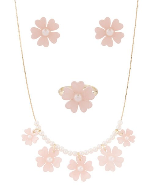 Resin Flower and Pearl Jewellery Set, , large