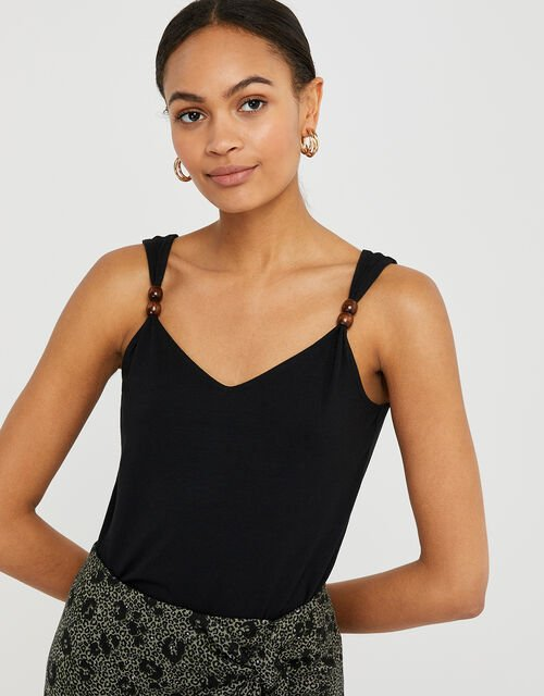 Bea Jersey Cami Top with Beaded Straps, Black (BLACK), large