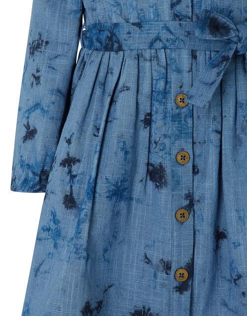 Dina Tie Dye Cotton Dress, Blue (BLUE), large