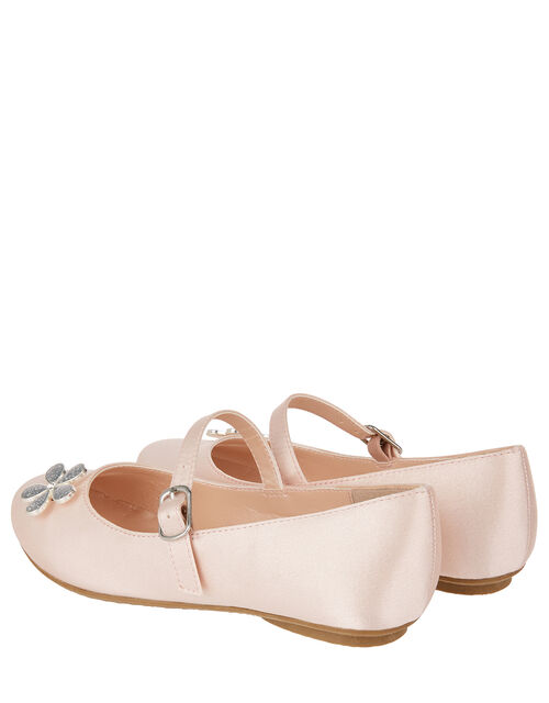 Divina Satin Floral Ballerina Flat Shoes, Pink (PALE PINK), large
