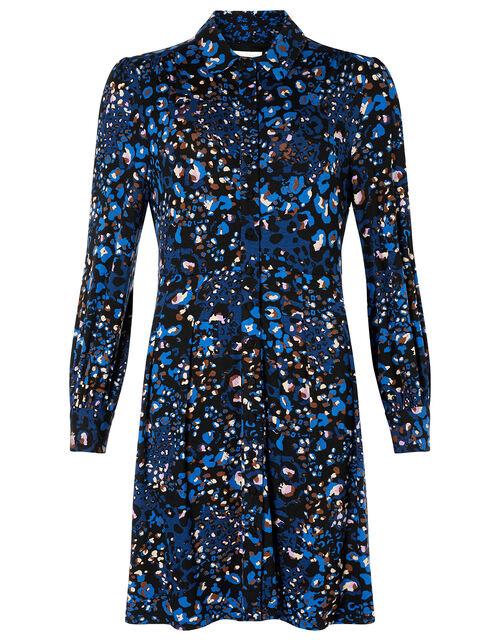 Leopard Print Jersey Shirt Dress, Blue (NAVY), large