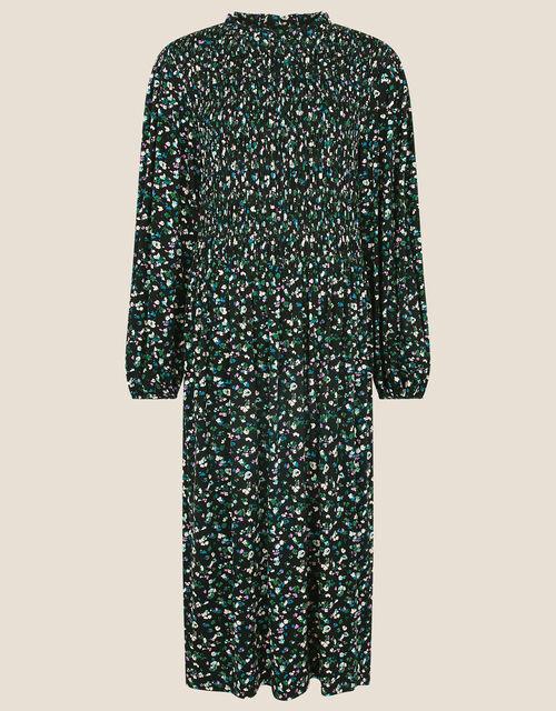 Floral Print Shirred Midi Dress, Black (BLACK), large