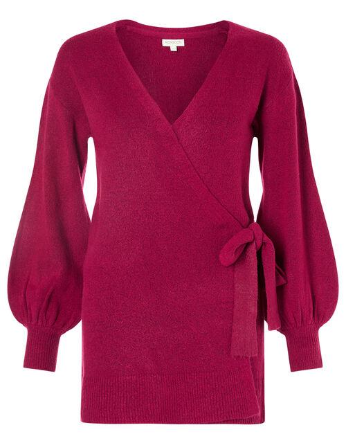 Wrap Knit Cardigan, Pink (PINK), large