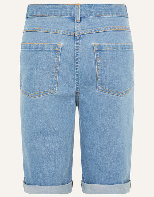 Sequin Flower Longline Denim Shorts , Blue (BLUE), large
