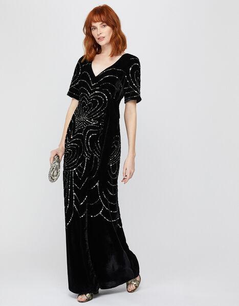 Hanna Embellished Velvet Maxi Dress Black, Black (BLACK), large