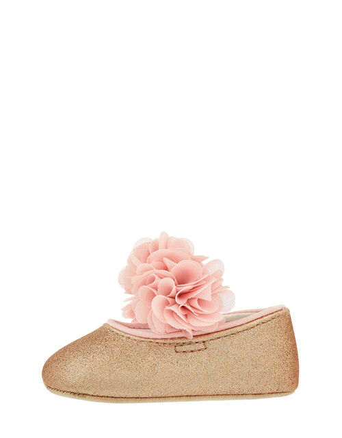 Baby Abilene Corsage Glitter Booties, Gold (ROSE GOLD), large