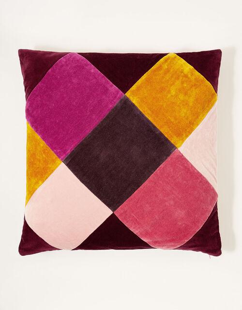 Diamond Check Velvet Cushion, , large