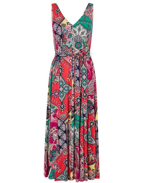Scarf Print Midi Dress, Pink (PINK), large