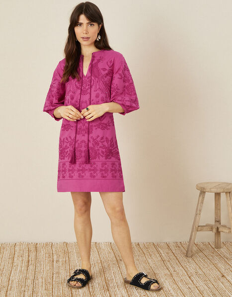 ARTISAN STUDIO Embroidered Kaftan Dress Pink, Pink (PINK), large